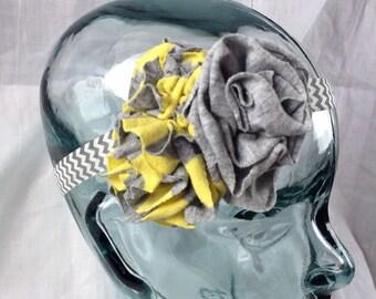 Gray and Yellow Triple Flower Headband