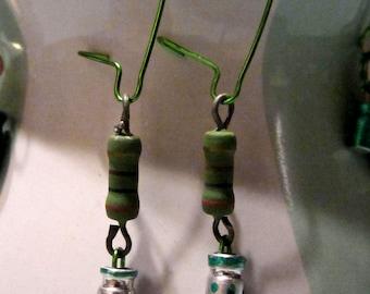 Green Stripes & Dots Earrings