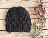 FREE SHIPPING.....Black  Beanie Hat , Oversized hat , Black knit hat women , Black beanie women .