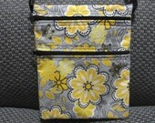 Cross Body Bag, Travel Purse, Sling Purse, Zippered Purse, Shoulder Purse in Grey with Yellow Flowers - Medium Size