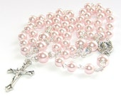 Pink Pearl Women's Catholic Rosary, Option to Personalize with Name - Customize Your Rosary