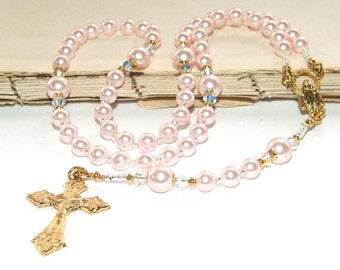 Baptism Rosary in Pink Crystal Pearls with Gold  / Catholic Girl's First Communion Rosary