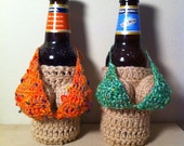 Removable Handmade Crocheted Mini Bikini ---BIKINI TOP ONLY--- For a Wine Boobie Coozie
