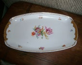 Antique Czech Floral China Large Serving Tray  / Epiag Aich