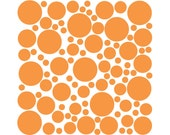 100 Wall Safe Vinyl Polka Dots Circles Persimmon Light Orange Removable Temporary Stickers Adhesive Nursery Crib Kids Childs Bedroom Room