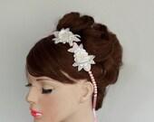 Pink Pearl Bead Bridal Headband & Necklace White Sequined Beaded Flowers Romantic Wedding Handmade