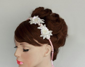 Pink Pearl Bead Bridal Headband & Necklace White Sequined Beaded Flowers Romantic Wedding Handmade