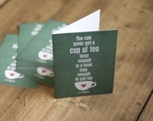 Friendship Card A Cup of Tea and a Long Book - CS Lewis quote - Friend Distressed Coral Teal Emerald Green Friendship Greeting Card