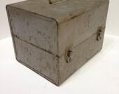 Old vintage metal tool box gray film storage