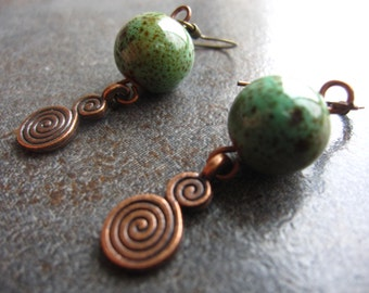 Handcrafted Green Ceramic Beaded Earrings with Copper Spiral Accents