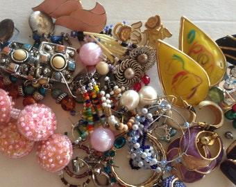 30 plus Pair Earrings Pierced Clip Vintage Rhinestone De-stash lot 610