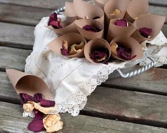 Brown Kraft Paper Petal Toss Cones Wedding Send Off