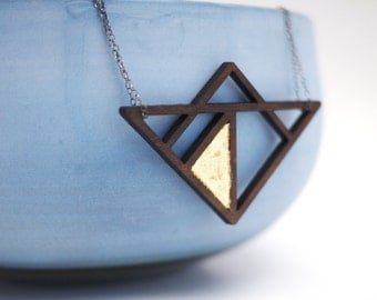 Laser Cut Walnut Wood Oxidized  Sterling Silver Necklace with Gold Leaf Detail