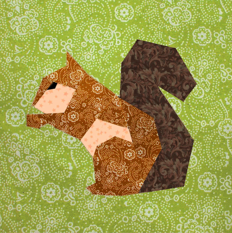 Squirrel Quilt Block Paper Pieced Quilt Pattern Pdf