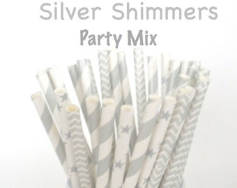 "Paper Straws ""SILVER SHIMMERS"" Mix Paper Drinking Straws Cake Pop Sticks Mason Jar Paper Straws Wedding, Birthdays Elegant Formal"
