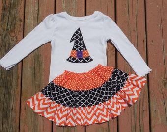 Girl's Toddlers Skirt and Shirt Outfit -  Tiered Halloween Skirt with Witch's Hat Applique Shirt