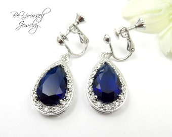 Clip On Sapphire Bridal Earrings Blue Teardrop Bride Earrings Wedding Jewelry Cubic Zirconia Navy Earrings Bridesmaid Gift CZ Something Blue