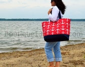 "EXtra Large Beach Tote Bag - Red Anchor & Navy - ""Family Size"" Canvas Bag"
