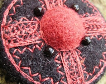 Needle FELTED BROOCH Viking Nordic Art Fibula Shield  Wearable Art Eco