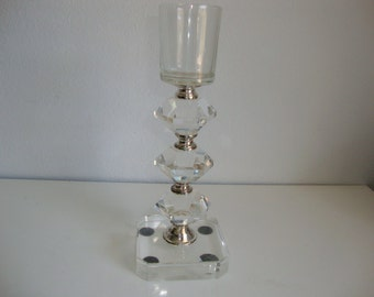 Glass Candle Holder, Vintage Candlestick, Tall Candle Holder