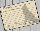 Dog Recipe Cards 4x6 Printable Recipe Card 3x5 Paw Prints 3.5x5 Dog Lover Dog Parent Hostess Gift