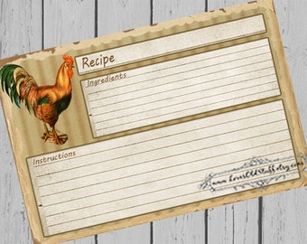 Printable Recipe Card 3x5 | 4x6 Blank Recipe Cards | 3.5x5 Rustic Rooster Recipe Card