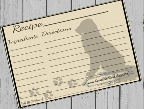 Dog Recipe Cards | Printable Recipe Card 4X6 | Dog Lover 3X5