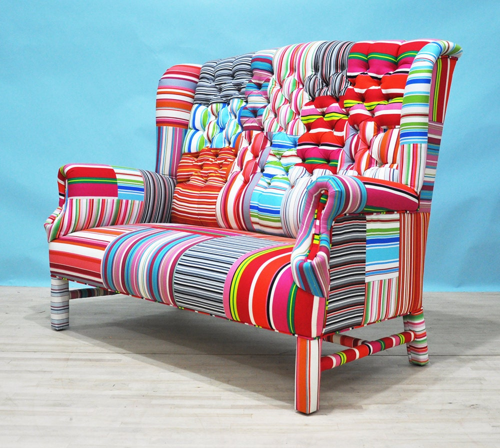 15 sale striped wing patchwork sofa by namedesignstudio for Canape patchwork