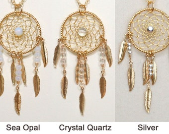 Dream Catcher Sea Opal, Quartz Crystal, Silver Gold Dreamcatcher Necklace with Feathers