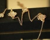 SALE - Clover Necklace, Gold Crystal Clover Necklace, Gold Four Leaf Clover, Gift for her, Long Clover Necklace
