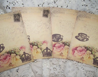 Note Cards Post Cards Vintage Distress Style Hand stamp Party favor Scrap Booking Thank You Cards Tea Party Cards