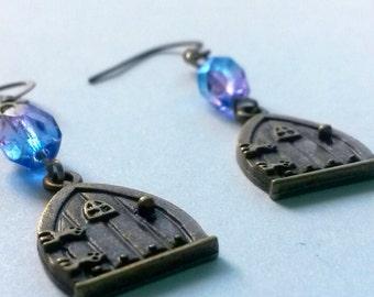 Through The Fairy Door Antiqued Brass Earrings