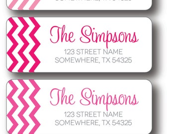 Return Address Labels - Pink Chevron