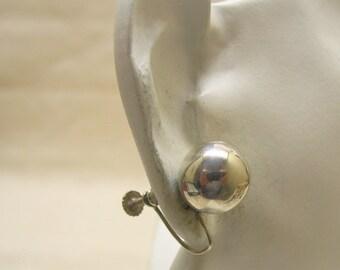 1960 Vintage Sterling Silver Petite Ball Screwback Earrings