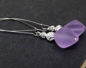 Purple Sea Glass Earrings:  Radiant Orchid Beaded Dangle Earrings, Lavender Drop Pierced Wire Long Earrings, Silver Rose Beach Jewelry