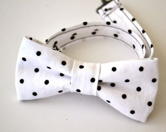SALE Boys Bow Tie Ages 2-10 White with Black Dots