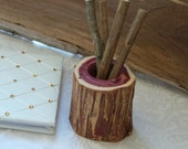 Rustic Wedding Decor,  Log Pen Holder