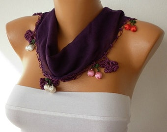Dark Purple Floral Cotton Scarf , Damson, Summer Scarf, Necklace, Gift Ideas  For Her,  Women Fashion Accessories