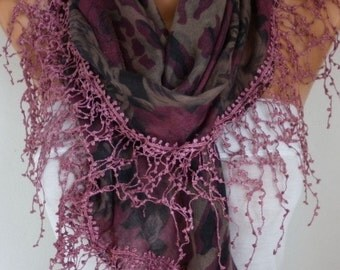 Burgundy Leopard Print Scarf Teacher Gift Fringe Scarf Oversize Multicolor Scarf  Cowl Gift Ideas For Her Women Fashion Accessories