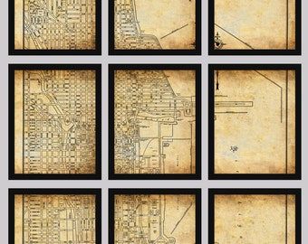 Chicago Map - Vintage Street Map - 9 Panel Section Map Grunge Sepia