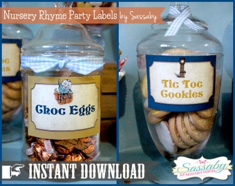 Nursery Rhyme Party Labels - INSTANT DOWNLOAD - Editable & Printable Party Decorations by Sassaby