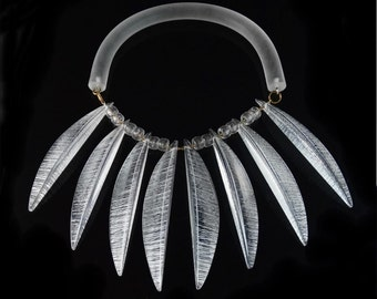 Amazing RARE Vintage 1980's Judith Hendler Acri-Gem Clear Acrylic Fringe Collar Runway Necklace Verified By Judith Hendler