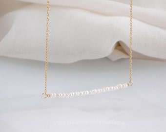 Seed pearl bar necklace, available in 14k gold filled or sterling silver, tiny pearl necklace