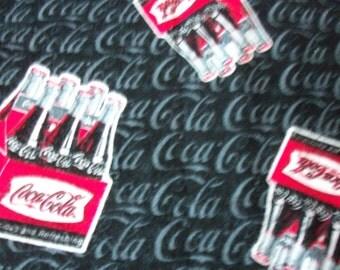 Fabric Coca Cola Flannel Six Packs Black Background BTFQ New