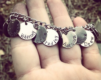 Personalized Hand Stamped Silver Disc TAG Charm Bracelet