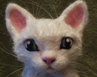 Needle Felted Devon Rex Cat Sculpture - Rosa - White Cat Sculpture - OOaK Artist Soft Sculpture