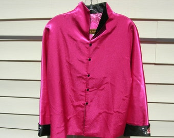 Beautiful Chinese Embroidered Jacket, hot pink & black, sz ML, unused vintage, looks better in person