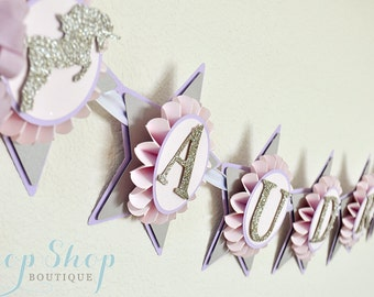 Unicorn Kisses Star Birthday Banner, Special Occasion, name banner, nursery decor, photo prop, High chair banner