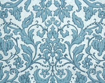 Retro Flock Wallpaper by the Yard 70s Vintage Flock Wallpaper - 1970s Blue and White Damask
