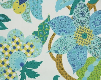 Retro Wallpaper by the Yard 70s Vintage Wallpaper - 70s Blue Green and Yellow Patchwork Floral with Plaid Geometric and Floral Prints